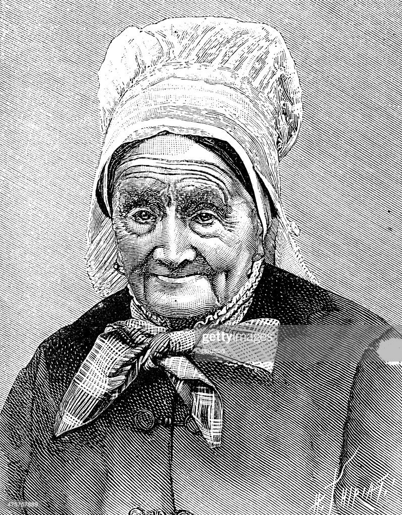 Antique illustration of old woman : stock illustration