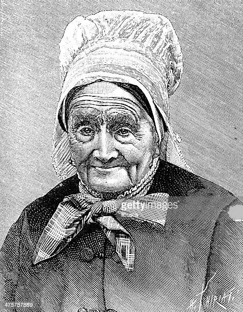 Antique illustration of old woman