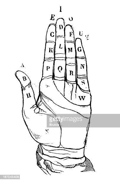 illustrations, cliparts, dessins animés et icônes de ancienne illustration de une main alphabet - perte auditive