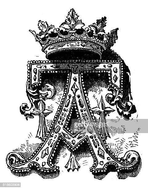 antique illustration of ornate capital letter a - pediment stock illustrations, clip art, cartoons, & icons