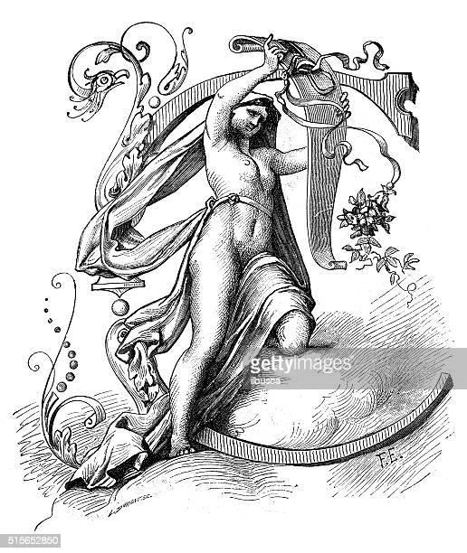 ilustraciones, imágenes clip art, dibujos animados e iconos de stock de ilustración de pinturas antiguas capital letra c - letrac