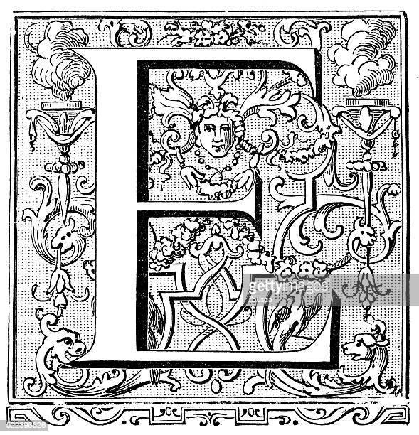 ilustraciones, imágenes clip art, dibujos animados e iconos de stock de ilustración de pinturas antiguas capital letra e - letrae
