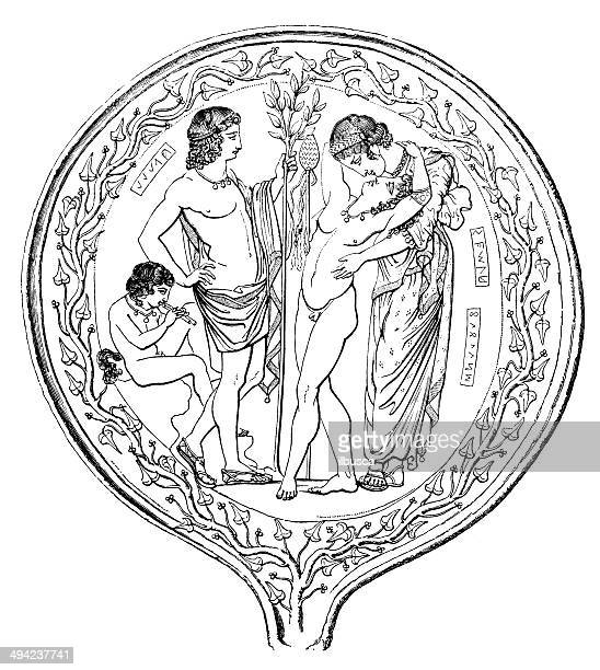 Antique illustration of ornate etruscan mirror