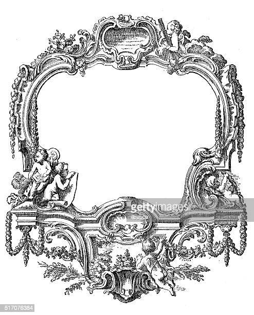 antique illustration of ornate frame decoration - classical architectural style stock illustrations, clip art, cartoons, & icons