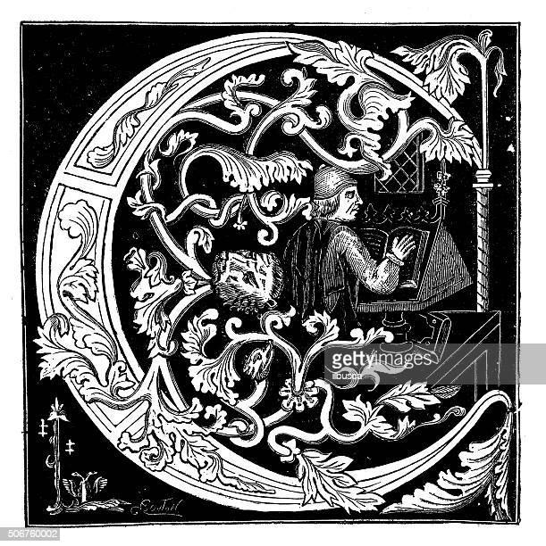 ilustrações, clipart, desenhos animados e ícones de antique ilustração de ornamentada letra c de um estado medieval manuscrito - letrac