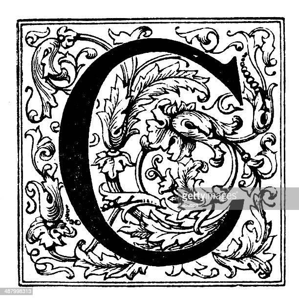 antique illustration of ornate letter c - letter c stock illustrations, clip art, cartoons, & icons