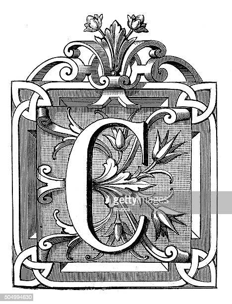 antique illustration of ornate letter c, with geometrical, vegetal motifs - letter c stock illustrations, clip art, cartoons, & icons