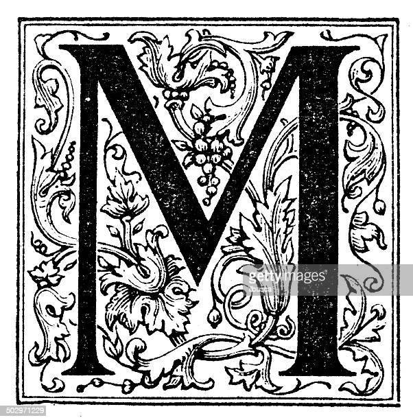 ilustraciones, imágenes clip art, dibujos animados e iconos de stock de anticuario ilustración de ornamentado letra m - letra m