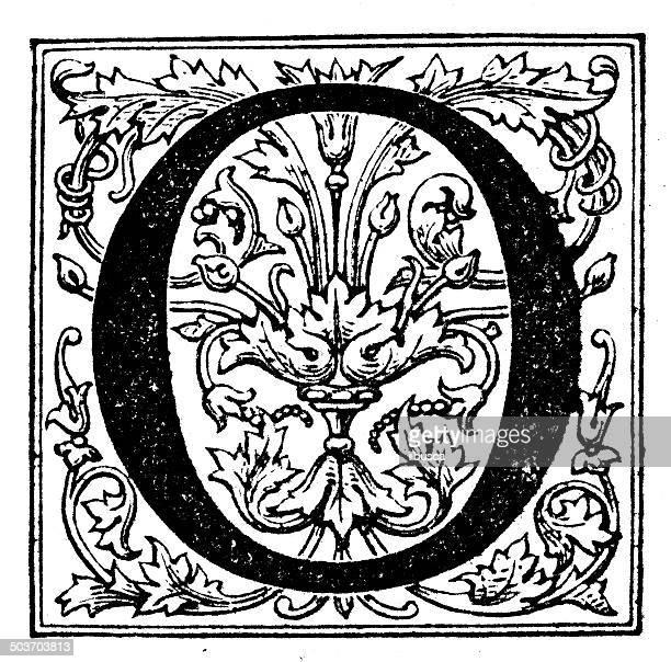 Antique illustration of ornate letter O