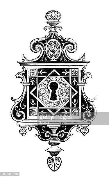 antique illustration of ornate lock - keyhole stock illustrations, clip art, cartoons, & icons