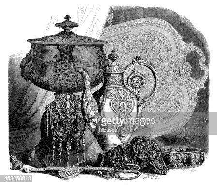 Antique Illustration Of Ornate Vases Stock Illustration Getty Images