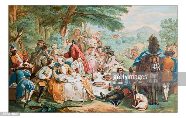 stockillustraties, clipart, cartoons en iconen met antique illustration of outdoor party lunch during hunting - food and drink