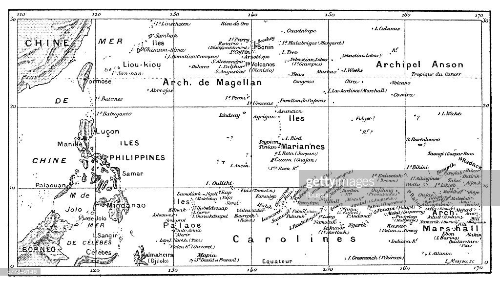 Antique illustration of Pacific Ocean Islands map : stock illustration