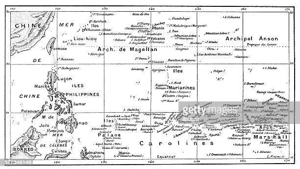 Antique illustration of Pacific Ocean Islands map