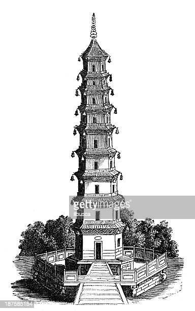 antique illustration of pagoda tower - pagoda stock illustrations, clip art, cartoons, & icons