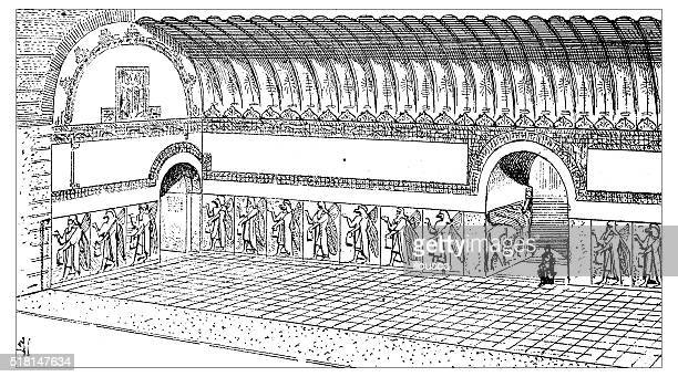 antique illustration of palace of nimrud (kalhu near mosul, iraq) - 8th century bc stock illustrations, clip art, cartoons, & icons