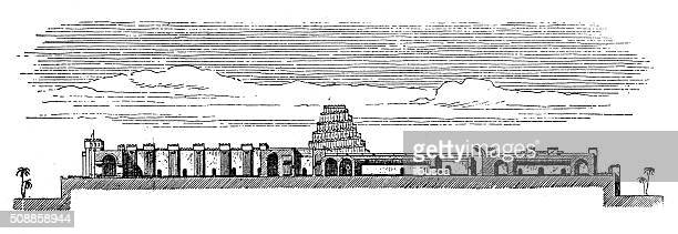 antique illustration of palace of sargon ii (dur-sharrukin, khorsabad, iraq) - 8th century bc stock illustrations, clip art, cartoons, & icons