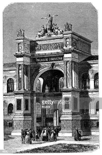 antikes illustration des palais de l'industrie, paris - palast stock-grafiken, -clipart, -cartoons und -symbole