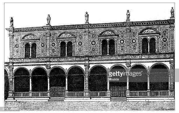 antique illustration of palazzo del consiglio with loggia (verona, italy) - consiglio stock illustrations