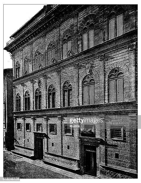 Antique illustration of Palazzo Rucellai (Florence)