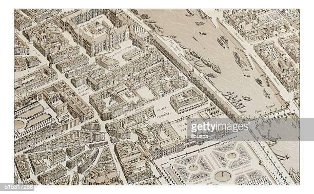 Antique illustration of Paris 1730