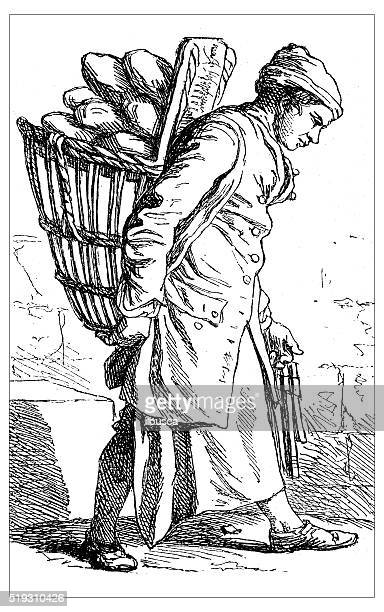 Antique illustration of people and jobs from Paris: Baker