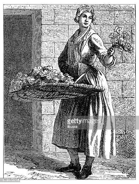 illustrations, cliparts, dessins animés et icônes de ancienne illustration de personnes et l'emploi de paris :  fleurs du fournisseur - marchand