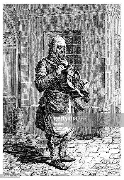 Antique illustration of people and jobs from Paris: street musician