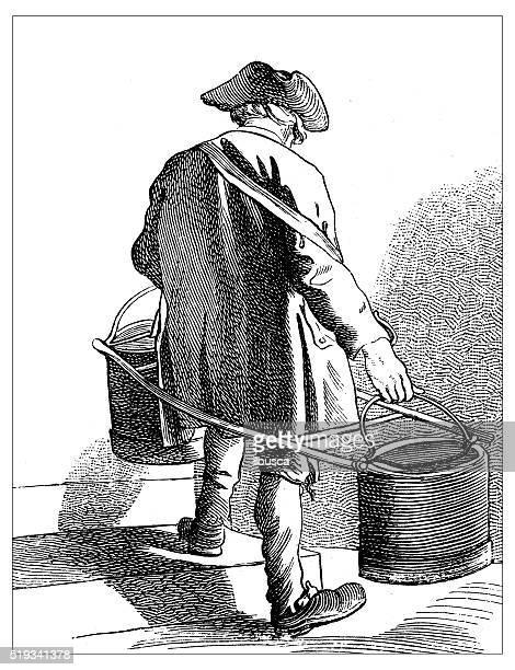 illustrations, cliparts, dessins animés et icônes de ancienne illustration de personnes et l'emploi de paris : l'eau transporteur - seau
