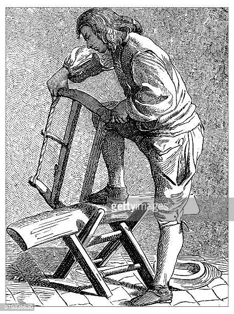 Antique illustration of people and jobs from Paris: wood worker