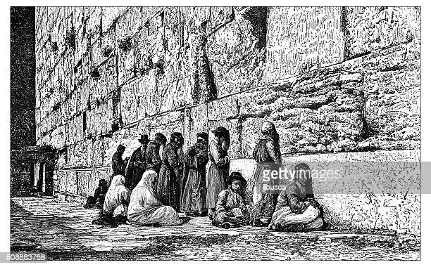 antique illustration of people praying at place of weeping (jerusalem) - wailing wall stock illustrations, clip art, cartoons, & icons