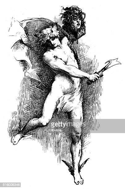 ilustraciones, imágenes clip art, dibujos animados e iconos de stock de anticuario ilustración de perseo con la cabeza de medusa - matadero