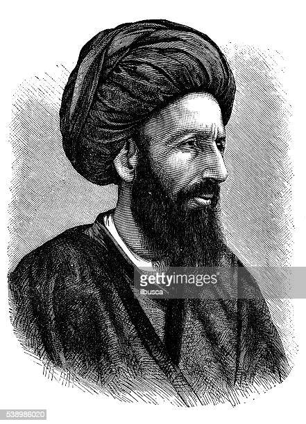 antique illustration of persian man - iranian culture stock illustrations, clip art, cartoons, & icons
