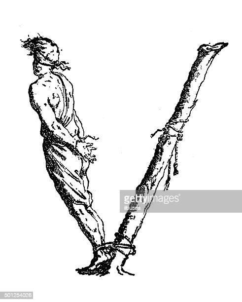 Anticuario ilustración de personified letra V con condenados hombre