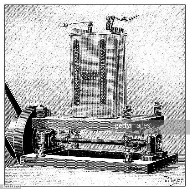Antique illustration of physics experiment electrical machinery