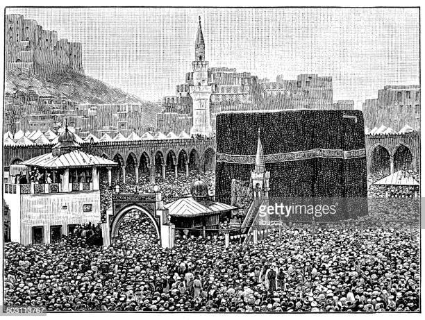 antique illustration of pilgrims round the kaaba, mecca - mecca stock illustrations