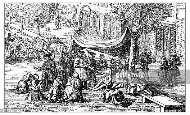 antique illustration of plague in marseille - epidemic stock illustrations