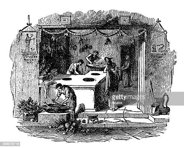 ilustraciones, imágenes clip art, dibujos animados e iconos de stock de ilustración antigua de pompeya tienda - pompeya