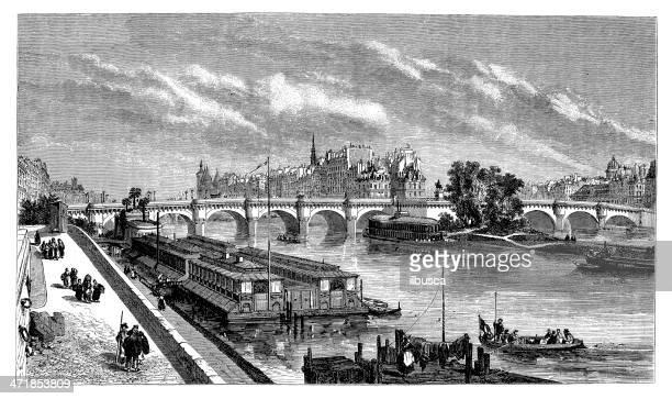 antique illustration of pont neuf - promenade stock illustrations, clip art, cartoons, & icons