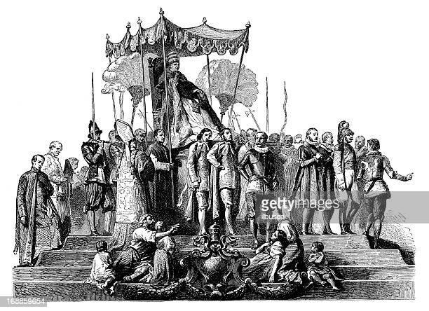 antikes illustration von papst pius ix - papst stock-grafiken, -clipart, -cartoons und -symbole
