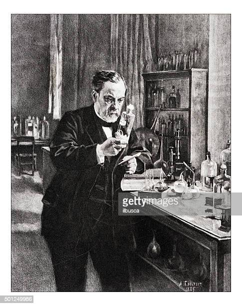 "antique illustration of ""portrait de pasteur"" by edelfelt - history stock illustrations"