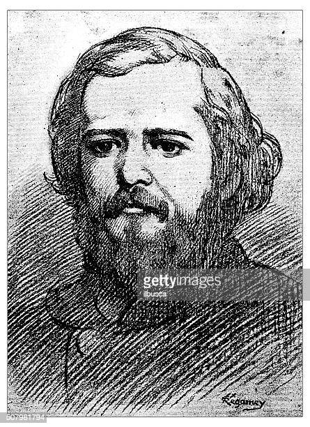 Antique illustration of  portrait of Guillame Règamey