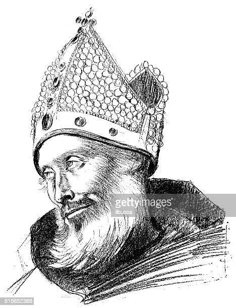 antique illustration of portrait of saint cuthbert - northeastern england stock illustrations, clip art, cartoons, & icons
