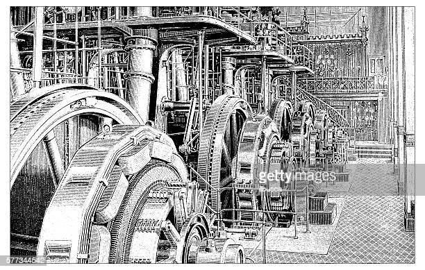 Antique illustration of power plant
