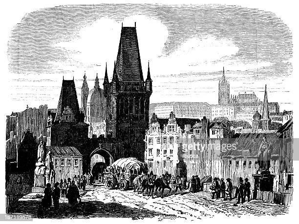 antique illustration of prague - prague stock illustrations, clip art, cartoons, & icons