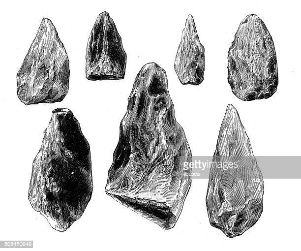 antique illustration of prehistoric flint weapons - archaeology stock illustrations