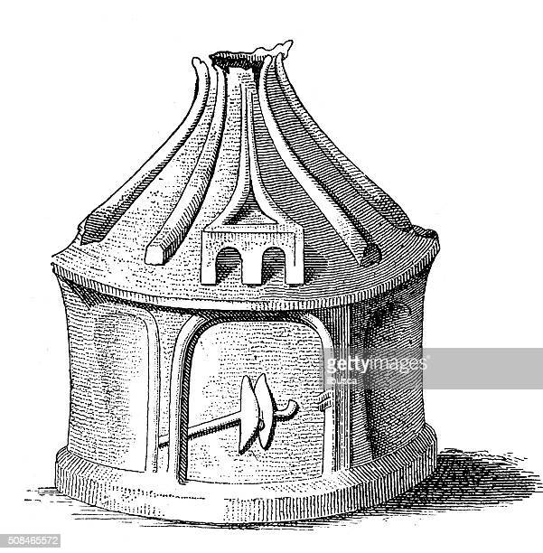 antique illustration of prehistoric home-shaped vase from italy - earthenware stock illustrations, clip art, cartoons, & icons