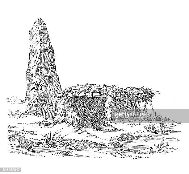 Antique illustration of prehistoric settlement with a menhir