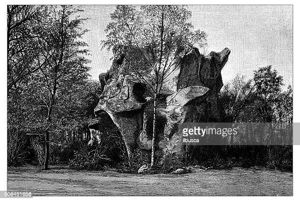Antique illustration of prehistoric shelter