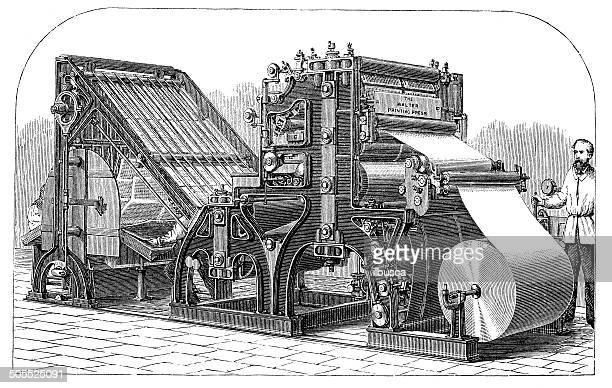antique illustration of printing press typography machine - history stock illustrations, clip art, cartoons, & icons